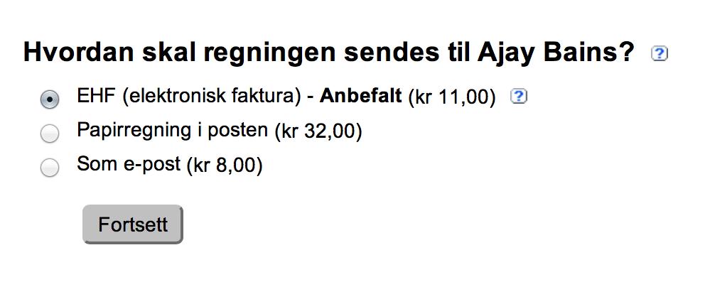 Skjermbilde for valg av forsendelsesmåte for regning: EHF, papirregning eller epost